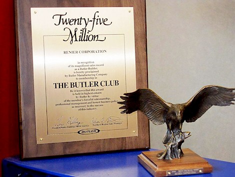 Renier Construction was awarded a Twenty Five Million Award by the Butler Club.