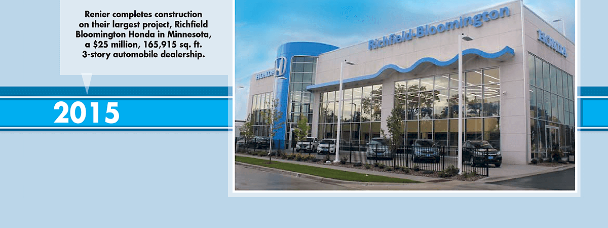 In 2015, Renier completed their biggest project ever, a $25 million auto dealership for Richfield Bloomington Honda in Minnesota.